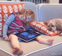 Funny Dog Frightens Sleepy Girl (gif)