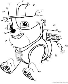 Rubble Dot To Dot - Printable Coloring Pages Disney Activities, Printable Activities For Kids, Preschool Learning Activities, Preschool Printables, Preschool Worksheets, Printable Worksheets, Paw Patrol Coloring Pages, Cute Coloring Pages, Printable Coloring Pages