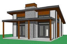 House Plan 034-01075 - Contemporary Plan: 686 Square Feet, 2 Bedrooms, 1 Bathroom