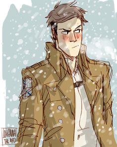 Older shingekis with winter uniforms - about time to get a decent hairstyle, Jean
