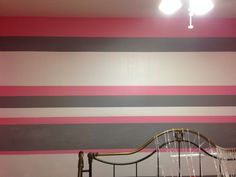 It looks like frosting! Pink, White, and Gray stripped wall.