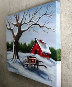 Canvas Painting Tutorials, Easy Canvas Painting, Simple Acrylic Paintings, Diy Painting, Canvas Art, Red Barn Painting, Painting Snow, Winter Painting, Rock Painting