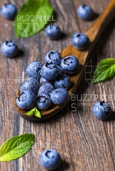Royalty Free (RF) Photos / Vectors / Ready Made Logos / by BuzzPixelStock Fresh blueberries and mint leaf on wooden spoon. Useful for fruit background. Blueberry Fruit, Organic Vitamins, Blue Food, Food Backgrounds, Photography For Sale, Wooden Spoons, Free Prints, Blueberries, Vegetarian