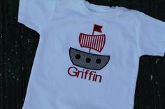 Pirate Ship Applique Shirt by preppyponydesigns on Etsy, $24.00