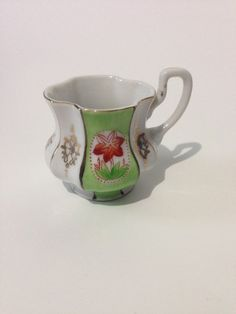 "Vintage Ohashi China K Hand Painted Green White 2"" Demitasse Cup Pre-War Japan #OhashiChina"