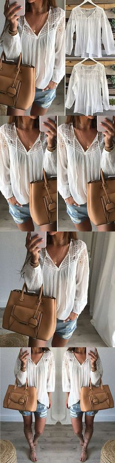 Women Tops Blouses: Usa Fashion Womens Lace Tops Tee Long Sleeve Shirt Casual Blouse Loose T-Shirt BUY IT NOW ONLY: $5.99