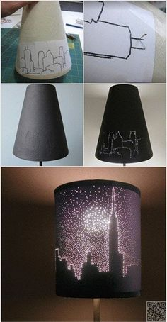 2. NYC #Skyline - 22 Diy Lampshades You Can Make at Home ... → DIY #Doily