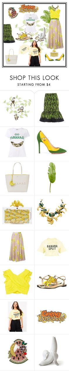 """""""Banana Splits while Going Bananas"""" by nocarboncopyii ❤ liked on Polyvore featuring Brewster Home Fashions, Prada, Natasha Zinko, Charlotte Olympia, Kate Spade, Pier 1 Imports, MSGM, MANGO, Elizabeth Cole and yellow"""