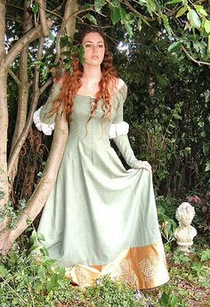 "Gowns Pagan Wicca Witch: ""Ophelia""---Waterhouse Inspired Gown. Shown with slashed sleeves."