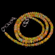 """45CRTS 3to5MM 18"""" ETHIOPIAN OPAL FACETED RONDELLE BEADS NECKLACE OBI3085 #OPALBEADSINDIA"""