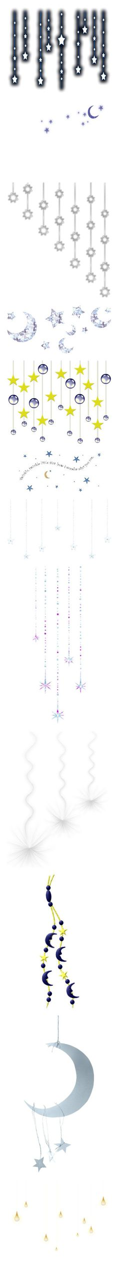 """""""moons & stars hanging items as well"""" by cloezplace ❤ liked on Polyvore featuring effects, stars, text, decor, lights, christmas, fillers, christmas lights, backgrounds and embellishments"""