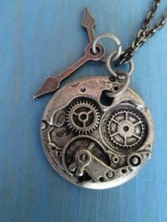 Steampunk clock bosom necklace in antique silver color/ unisex jewelry/ metal jewelry by Nlooming for $15.00