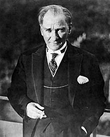 """Mustafa Kemal Atatürk. 19 May 1881 (conventional) – 10 November 1938 was a Turkish army officer, revolutionary, and the first President of Turkey. He is credited with being the founder of the Republic of Turkey. His surname, Atatürk (meaning """"Father of the Turks""""), was granted to him in 1934 and forbidden to any other person by the Turkish parliament."""