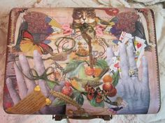 The little old Suitcase/top collage/decoupage ~ Nikki Soppelsa
