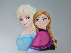 AllanDavisArt Frozen drawing - Elsa and Anna This is my drawing of Elsa and Anna from the film Frozen using Prisma Colour pencils.