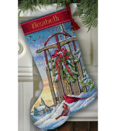 Gold Collection Christmas Sled Stocking Counted Cross Stitch Kit & Counted Cross Stitch at Joann.com