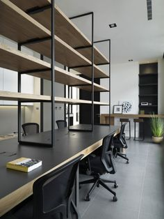 Black Desking Solution with Overhead Storage