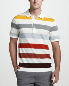 Bar-Stripe Pique Polo by Lacoste at Neiman Marcus. Sport T Shirt, Shirt Men, Knit Fashion, Men's Fashion, Lacoste, Kurta Pajama Men, Camisa Polo, Polo T Shirts, Bergdorf Goodman