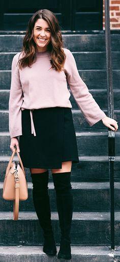 Pink Knit / Black Skirt / Black OTK Boots / Camel Leather Tote Bag