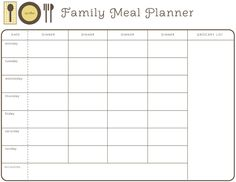 A half page weekly meal planner with accompanying grocery list ...