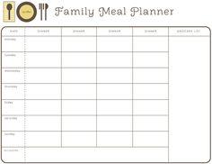 Printable meal planner/menus from Hellobee!
