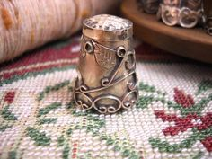 vintage thimbles | Antique Thimble Sterling Silver Ornate Vintage Thimbles