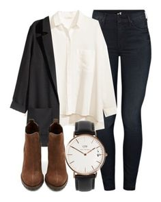"""""""Classic"""" by flmegirl on Polyvore featuring Mother, H&M, Shoe Cult and Daniel Wellington"""