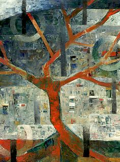 "Galleria scorrevole.                                          Sergio Cerchi, italian painter (Firenze), ""Tree"", oil on canvas."