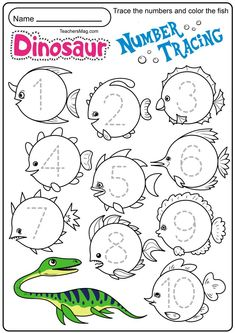 Number Words Worksheets, Dinosaur Worksheets, Pre K Worksheets, Name Tracing Worksheets, Number Tracing, Tracing Letters, Math Numbers, Preschool Worksheets, Preschool Activities