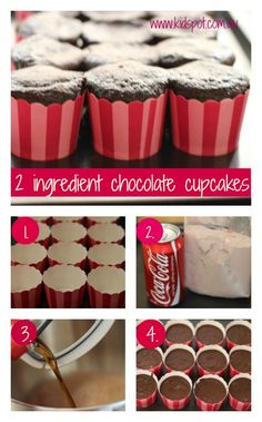 2 ingredient chocolate cupcakes 2 ingredient cupcakes - packet cake mix and a can of Coke Vegetarian Chocolate Cake, Chocolate Cake Mixes, Chocolate Cupcakes, Coke Cupcakes, Just Desserts, Delicious Desserts, Yummy Treats, Sweet Treats, Yummy Food