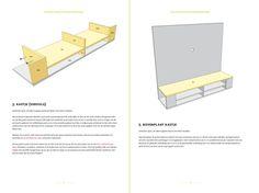 Twee pagina's uit de handleiding met bouwtekeningen voor tv-meubel Penelope