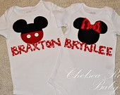 Personalized Girl Minnie Mouse Shirt or Boys Mickey Mouse Toddler Shirt, Disneyland, Disney Sibiling Shirts