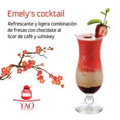 Emely's Cocktail: refrescante y ligera combinación de Fresas con Chocolate al licor de Café y Whiskey. #VenParaYAO