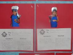 """First week of school...  Take a picture of each student with an apron.  They write a """"recipe for a successful school year"""" to put on display!  Cute!"""