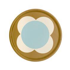Orla Kiely Round Tray Duck Egg Spot Flower £35.00 - Kitchen & Dining - Orla Kiely Kitchen ILLUSTRATED LIVING