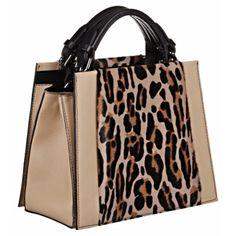 Caroline De Marchi Bali Beige Leopard Large Satchel Handbag ($2,854) ❤ liked on Polyvore featuring bags, handbags, black purse, leopard purse, leopard handbag, structured purse and satchel handbags