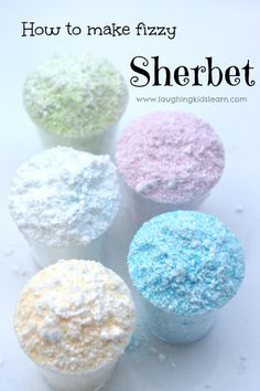 How to make sherbet. Simple recipe that is also a great science activity for kids. Put in little sachets with a lolly for party favours.