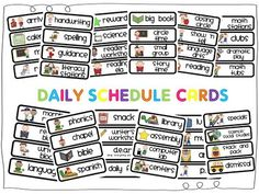 schedule cards by Cara Carroll at The First Grade Parade! So excited to see these!FABULOUS schedule cards by Cara Carroll at The First Grade Parade! So excited to see these! Classroom Labels, Classroom Organisation, Teacher Organization, Classroom Management, Classroom Ideas, Organizing, Classroom Signs, Classroom Freebies, Future Classroom