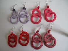 Orecchini all'uncinetto doppio anello ROSA fatti a mano idea regalo. | eBay