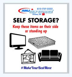 When packing your storage unit it's important to keep your mattress/box spring stored on long edges and kept in a mattress bag. TV's, pictures, painting, mirrors and sofas (excluding sofa beds) should be stored on edge, not flat. The breakable should be packed and stored in a box and sofa's should be covered with furniture blankets. #MakeYourBestMove #StorageTips #SelfStorage #Moving