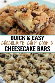 You MUST make these delicious and easy chocolate chip cookie cheesecake bars. I promise that everyone in your family will love them! Related posts:Pumpkin Chocolate Chip CookiesRaspberry Chocolate Chip CookiesChocolate Chip Cookie in a Mug Chocolate Chip Cookie Cheesecake, Easy Chocolate Chip Cookies, Cheesecake Cookies, Cheescake Bars, Chocolate Chip Dessert, Recipes With Chocolate Chips, Chocolate Cake, Easy Chocolate Desserts, Chocolate Chip Cookie Bars