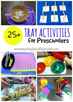 Over 25 Tray Activities for Preschoolers from Teaching 2 ands 3 Year Olds, busy bag, tot school