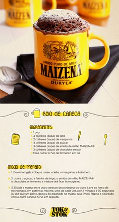 Receita de bolo de caneca e a caneca da nossa parceria com MAIZENA®. Mug cake recipe and the mug from our partnership with MAIZENA®. I Love Food, Good Food, Yummy Food, Baking Recipes, Cake Recipes, Baking Desserts, Portuguese Recipes, Food Hacks, Food Porn