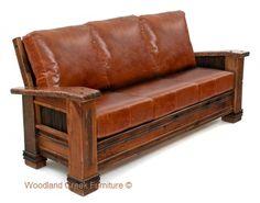 Rustic Cabin Barn Wood Sofa Available at Woodland Creek Furniture.