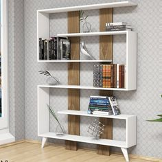This is a creative bookcase that is ideal for the sitting room and the office. Kallax Regal, Office Lounge, Hazelwood Home, Wall Shelves, Discount Designer, Office Furniture, Decoration, Beautiful Homes, Branding Design