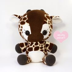 "Giraffe sewing pattern - stuffed animal plush PDF - DIY cute plushie anime kawaii 16"" (12.00 USD) by TeacupLion"