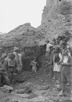 The Delphi Antinous was found in July 1893 during the excavations done by the archaeologist Théophile Homolle and the École Française d'Athènes, close the temple of Apollo, and it was discovered still standing upright as seen in this photo taken as the statue was being uearthed.