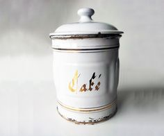 Vintage french ENAMEL white and gold by PetitesChosesDeLaVie, $25.00