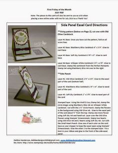 Side Panel Easel Card: PDF instructions and pattern by Debbie Henderson, Debbie's Designs. Stands up and folds flat for mailing too!