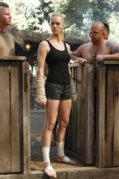 Yvonne Strahovski. I love that an action show is about the girl saving the guy.